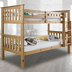 Happy Beds Atlantis Wooden Bunk Bed 3ft Single Solid Pine 2x Mattress Furniture (Pine, 3FT - 2x Spring Mattress)