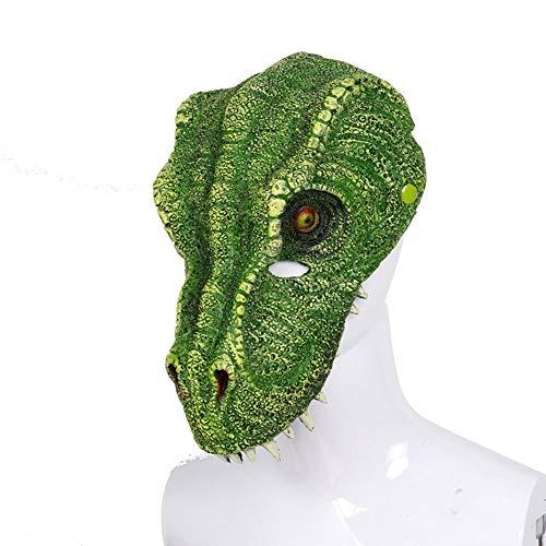 Story of life Dinosaurier Maske, Erwachsenen Gesichtsmaske Deluxe Neuheit Halloween Kostüm Party Tierkopf Maske Kostümzubehör,Green