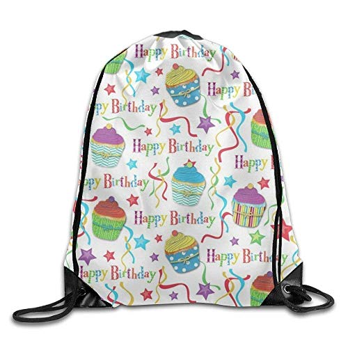 GONIESA Fashion Unisex Gym Bag Happy Birthday Unicorn Printed Cartoon Drawstring Backpack Men Heavy Duty Bag Tote Yoga 15.7