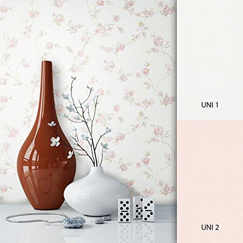 NEWROOM Blumentapete Tapete Rosa Blumen Blätter Floral Vliestapete Vlies moderne Design Optik...