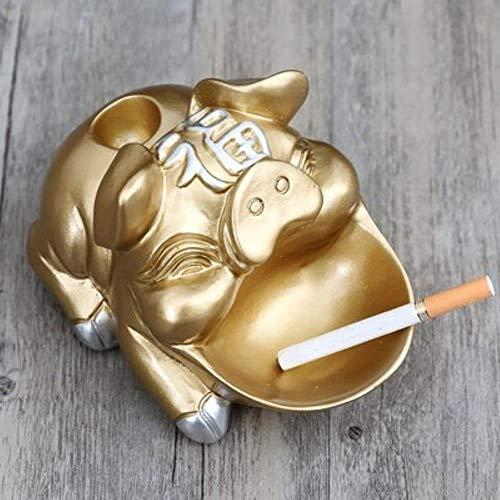 Cenicero de Cerdo Redondo Figurines Cenicero de Animales, Resina Arte y artesanía Accesorios de decoración del hogar para Sala de Estar, Amarillo