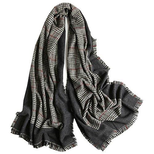 Sciarpe e Scialli da Donna Sciarpe da Donna Doppio Strato con 2 Strati Caldi 1 Coperta Scozzese Sciarpa Righe Scozzese