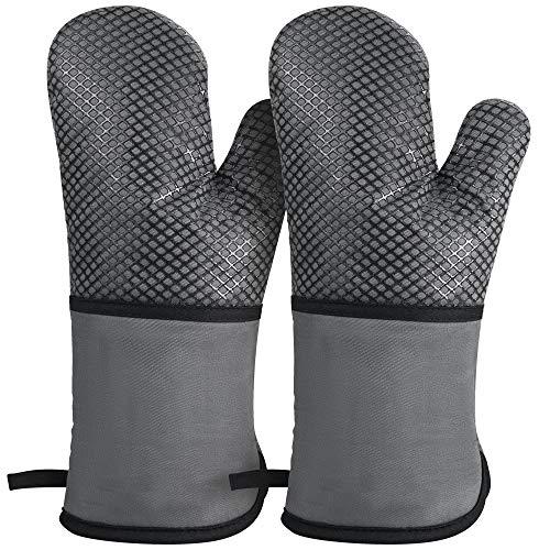 1 Paar Ofenhandschuh hitzebeständige Backhandschuhe, rutschfeste Silikon und Baumwolle Topflappen Handschuhe Extra Langen Kochhandschuhe zum Kochen, Grillen, Backen (Grau)