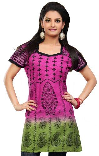 Indien Tunique Femmes long Kurti En Coton Imprimé Blouse Inde Vêtements Rose