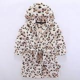 Heelinna Gemütlich Kinder Kid Boy Girl Flanell Kapuzen Bademantel Badetuch Leopard Muster Bademantel Nachthemd Nachtwäsche (Farbe : Brown)
