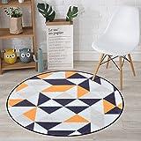 CKH Nordic Geometrische Runde Teppich Einfach und Stilvoll Schlafzimmer Zimmer hängen Korb Garten Teppich Computer Stuhl Mat (Size : Diameter 80cm)