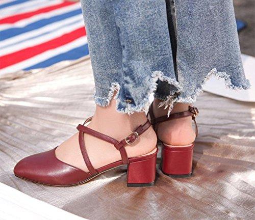 Kreuzgurte mit dicken hohlen Schnalle Schuhe Sandalen Baotou wine red