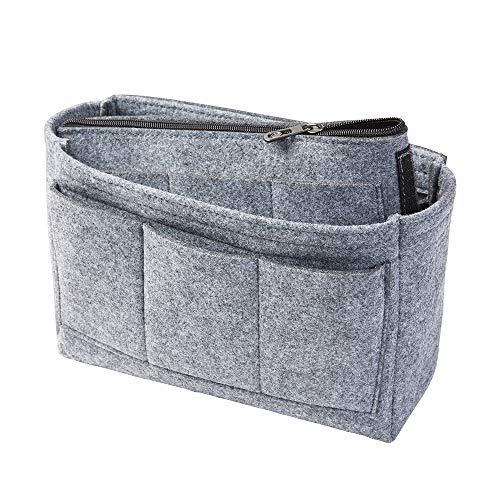 Taschenorganizer aus Filz, grau, M (Farbe & Größe wählbar) inkl. separater Tasche mit Reißverschluss. Handtaschenordner, Organizer für Taschen, Elektronik, Foto, Kosmetik