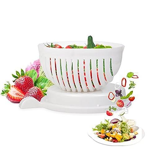 Salade Coupeur Bol, Essoreuse à salade et légumes Saladier Coupeur Salad Cutter Bowl Magic Salad Maker pour les légumes et les fruits frais Faire Salade en une minute (Salade Coupeur