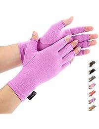 Arthritis Gloves by Duerer - Compression Gloves for Rheumatoid & Osteoarthritis - Hand Gloves Provide Arthritic Joint Pain Symptom Relief - Men & Women - Open Finger(Purple, S)