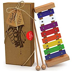 aGreatLife® Xilofono di Legno per Bambini: Il Migliore per il Tuo Piccolo Musicista - Crea Suoni Magici con le Manine; Uno strumento a percussione con chiavi metalliche multicolori e due bacchette di legno sicure