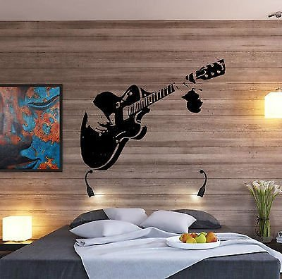Free Decals (Large Guitar Playing Strings Rock Bedroom Wall Art Free Squeegee Decal Sticker by Boultons Graphics)
