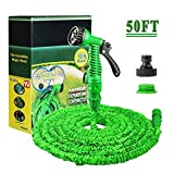 50FT Expanding Garden Water Hose Pipe with 7 Function Spray Gun Expandable Flexible