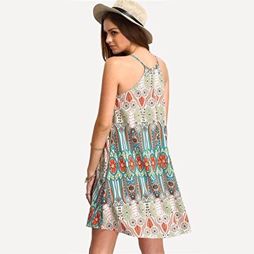 Transer ® Mode féminine rayonne Staple Retro National style en vrac col rond Sling Robe sans manches(S-XL) Vert