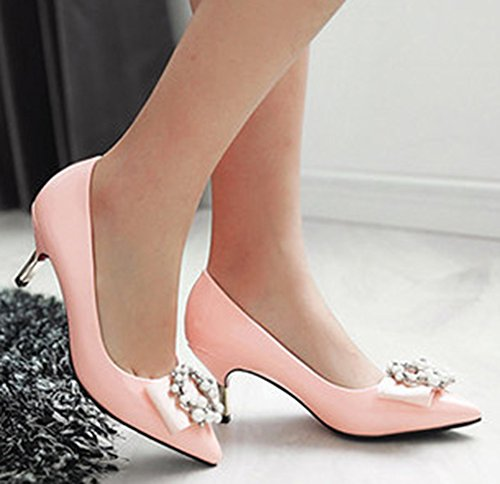 Aisun Damen Braut Strass Asakuchi Pointed Toe Siletto Pumps Pink