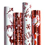 RUSPEPA Christmas Gift Wrapping Paper-Carta Rossa E Bianca Con Un Lamina Metallica Lucente-Christmas Elements Collection-4 Roll-76Cm X 305 Cm Per Rotolo
