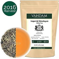 Tè bianco imperiale dell'Himalaya in foglie - Il tè più sano al mondo, ricco di POTENTI ANTIOSSIDANTI, raccolto fresco a mano nel 2016 da piantagioni di alta quota, floreale e invitante, 25 Tazze