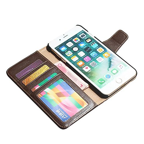 EKINHUI Case Cover Luxus Echtes Leder Tasche Brieftasche Horizontale Flip Folio Stand Case Cover mit magnetischen Buckle & Card Slots für IPhone 7 Plus ( Color : Wine ) Brown