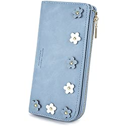 UTO Mujeres PU Monedero de cuero Señoras Embrague Chica Monedero Celephone Bolso Lindo Porta Tarjeta de flores Con cremallera Monedero Azul