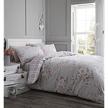 Superior Catherine Lansfield Canterbury Brushed Check Duvet Set, Dove Grey, Double