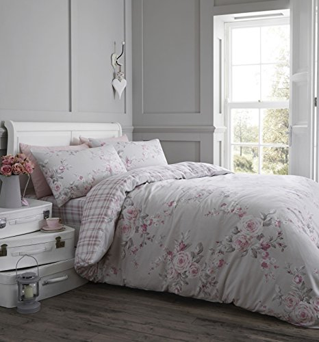 Catherine Lansfield Canterbury Brushed Check Duvet Set, Dove Grey, Double