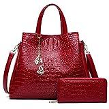 Cuir PU Femmes Sacs d'épaule grand sac fourre-tout des chaînes Mesdames Femmes Sacs à main porte-monnaie et monnaie sac femme rouge