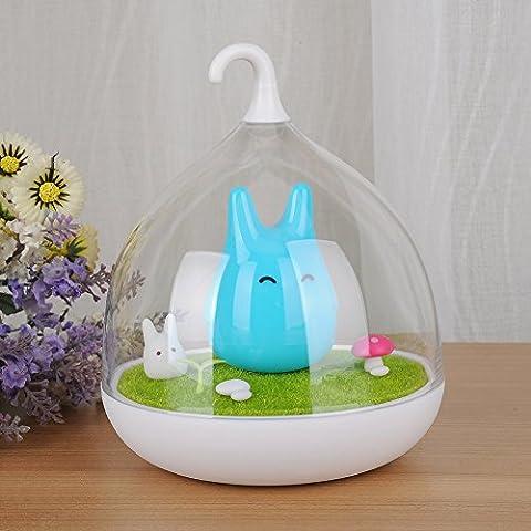 Totoro Lampara LED de Noche para Bebes Sensor Táctil Regulable Carga USB-Azul