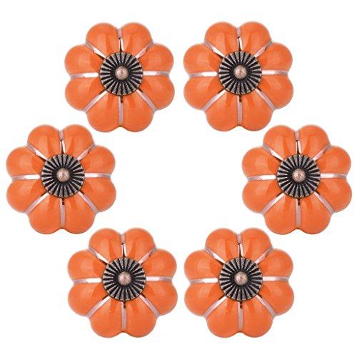 öpfe Orange Schrank-Küche-Handschuh-Schrank-Dresser-keramischer Zug 6pcs MEHRWEG ()