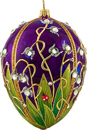 Joy Glitterazzi Ladybug Jeweled Egg Polish Glass Christmas Tree Ornament Poland New -