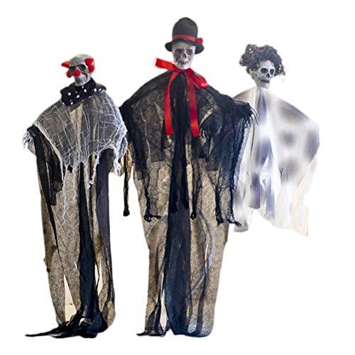 ZYEZI Hängende Geist-Halloween-Dekorationen, Festival-Geisterhaus-Stütze 3pcs mit verschiedenen Entwürfen