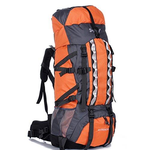 80 + 5L Largo Capacità All'aperto Sport Alpinismo Borsa Viaggi Camping Zaino,Orange-OneSize Orange