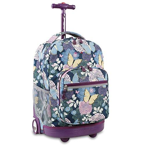 Versenkte Reißverschluss (J World New York Sunrise Rolling Backpack Rucksack, 18 cm, 34.5 liters, Mehrfarbig (Secret Garden))