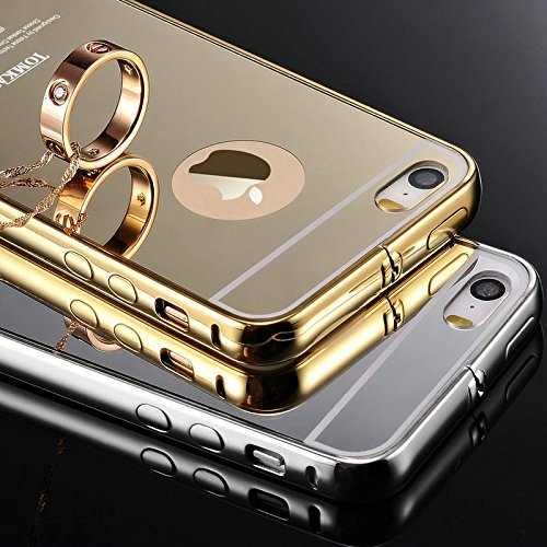 IDEAL For Apple iPhone 5G / 5S : IDEAL Luxury Gold Plating Aluminum Metal Back Cover -: Metal Bumper + Acrylic Mirror Back Case For Apple iPhone 5G / 5S - GOLD  available at amazon for Rs.288