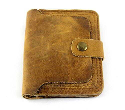 santwo echtes Leder Kreditkarte Brieftasche Foto Halter Bifold Billfold Geldbörse, Style A(Yellow) (Gelb) - BB0105 (Tri-fold Leder Embossed)