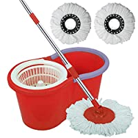 360 Degree Floor Black Spin Mop Bucket Set Spinning Rotating With 3 Cleaning Dry Heads