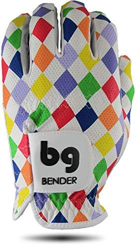 Bender Handschuhe Mesh Golf Handschuhe für Damen Cabretta Leder Easy-Grip Handschuhe Links getragen, Argyle, Large -