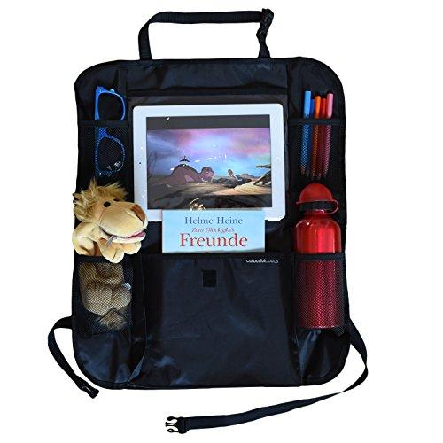 Premium Rücksitz-Organizer mit iPad-Halterung für Kinder von colourful clouds | geräumige Rücksitztasche | wasserdichter Rückenlehnenschutz universell passend (schwarz)