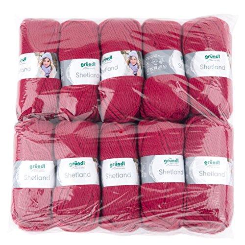 Gründl Shetland, Vorteilspackung 10 Knäuel à 100 g Handstrickgarn, 80% Polyacryl, 20% Wolle, Rot, 55 x 40 x 10 cm (Wolle Strickjacke Shetland)