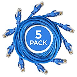 Ethernet Cable - 10FT Heavy Duty Cat6 E Cord (5-pack / Blue) with Professional Grade Copper + RJ45 Gold Plating & DynaCable® U.S. Warranty for Full-Bandwidth Networking (up to 10-Gigabit)