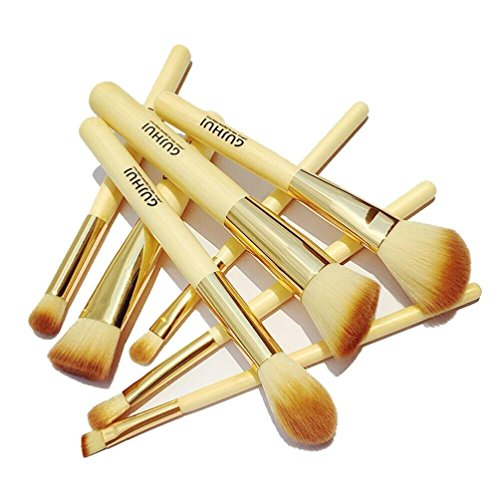 Internet 8 Pcs Bambou Poignée Blush Eyeliner Sourcils Maquillage Pinceaux