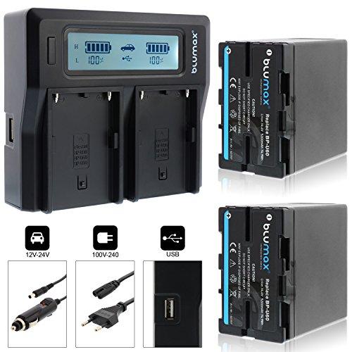 Blumax 2X Akku BP-U60 5200mAh Doppelladegerät für BP-U60, BP-U30, BP-U90, BP-U95 Akku Dual Charger für 2 Akkus gleichzeitig Laden