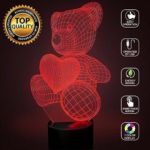 3D Optische Illusions-Lampen Herz Teddybär LED Nachtlichter, FZAI Touch Tischlampe Haus Dekoration 7 Farben Einzigartige Lichteffekte zum Kinder Weihnachtsgeschenk