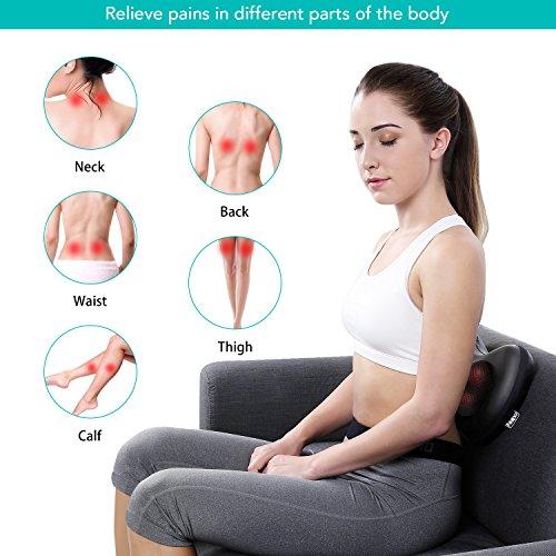Naipo Neck Pillow Massage Deep Shiatsu Kneading Massager Shoulder Back Massager Pillow with Heat for Home Car Office
