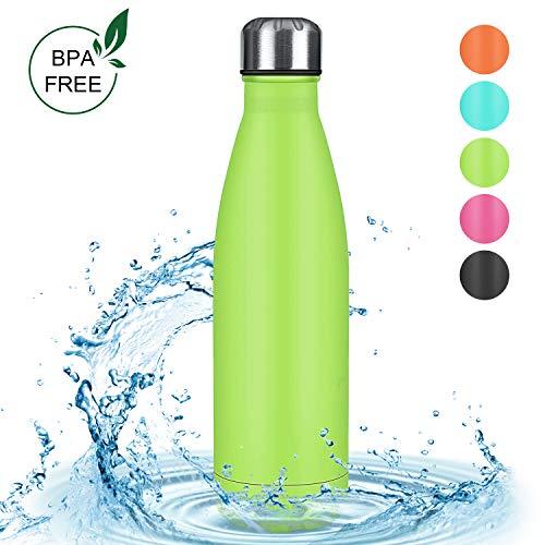 Zorara Edelstahl Trinkflasche, Doppelwandige Thermosflasche 500 mL Trinkflasche BPA Frei Vakuum Isolierflasche Auslaufsichere Sportflasche für Fahrrad Comping Reise (Grün)