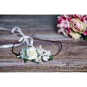 Brauthaarband Blumenkranz Blüten Diadem Braut Frisur Hochzeit Boho A15