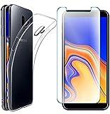 AOBOK [2 Stück Set, Samsung Galaxy J6 Plus Hülle, Samsung Galaxy J6 Plus Panzerglas, Transparent Weiche Silikon [ Ultradünnen ] Flexibel Bumper Handyhülle Durchsichtig TPU Kratzfest Handy Schutzhülle