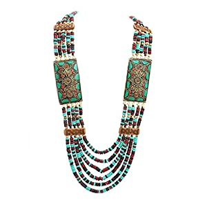 Zephyrr Multi Strand Wooden Beaded Necklace Tibetan Handmade Jewellery