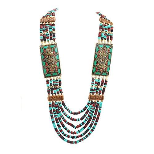 Zephyrr Multi Strand Wooden Beaded Necklace Tibetan Handmade Jewellery