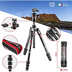 Manfrotto MKBFRTC4GT-BH Befree Advanced Travel Tripod, Twist Lock with Ball Head for Canon, Nikon, Sony, DSLR, CSC, Mirrorless, Up to 10 kg, Lightweight with Tripod Bag, Carbon, Black