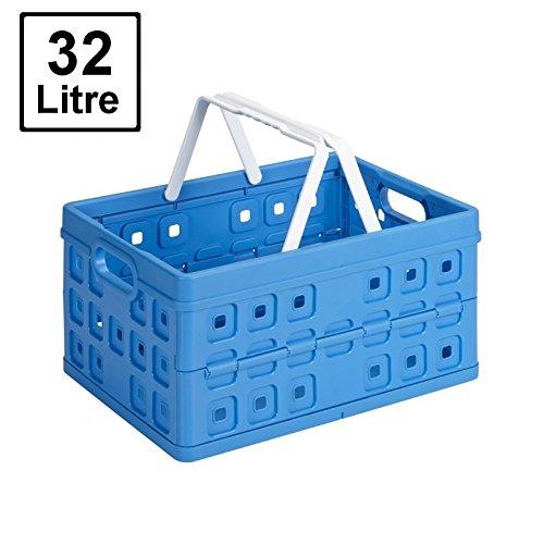 SUNWARE Square Klappbox – 32 Liter mit Griff – 490x360x250mm – blau/weiß